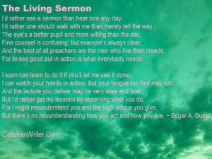 Living Sermon by Edgar A. Guest